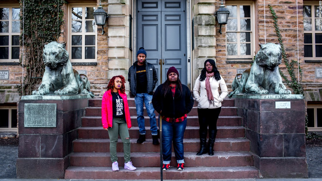 Princeton students and Black Justice League members, from left, Destiny Crockett, Asanni York, Ozioma Obi-Onuoha and Trust Kupupika, at Nassau Hall, the site of the protests last semester.