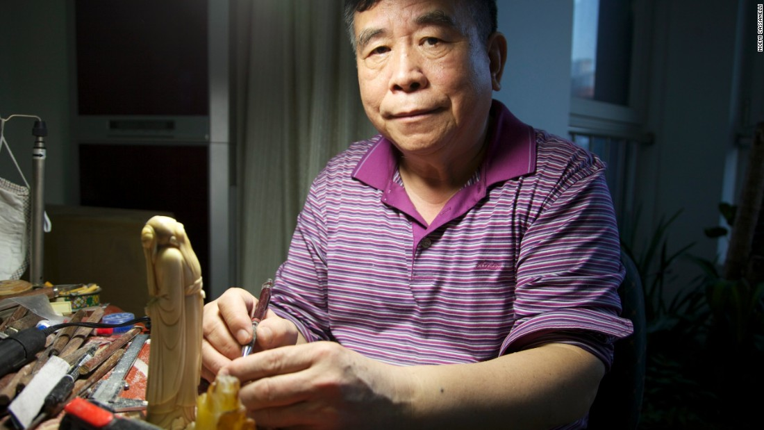 Li Chunke started carving ivory in 1964 when the number of elephants in Africa was still on the rise. But changing attitudes towards ivory are threatening carvers' livelihoods and an art form that has been practiced for generations.