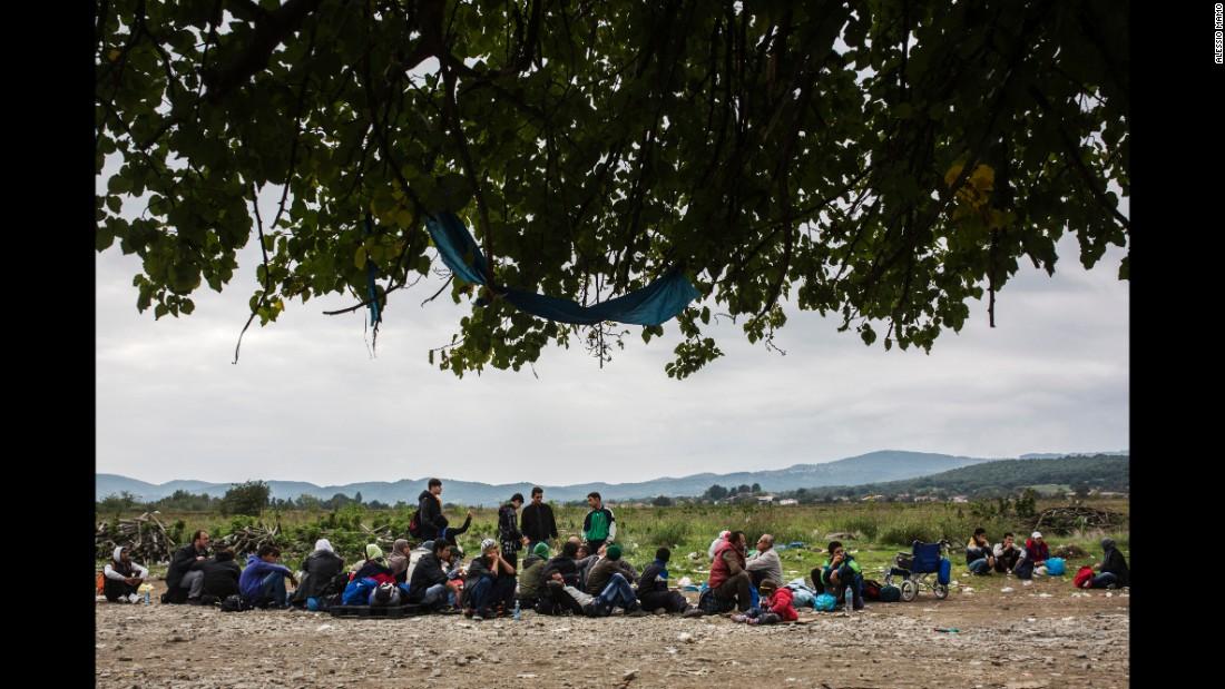 Refugees wait to enter a U.N. camp in Macedonia.