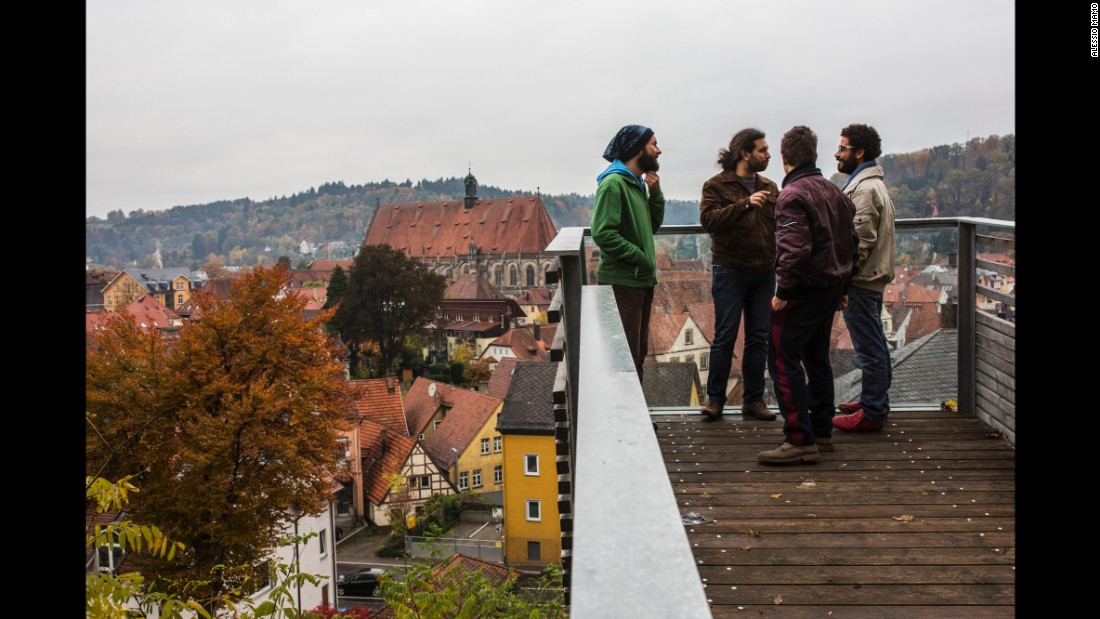 Somar talks with his brother and other friends after reaching Schwabisch.