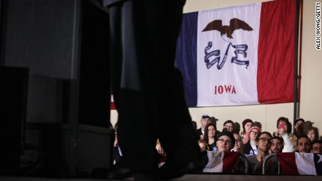 Voters listen to Democratic presidential candidate Sen. Bernie Sanders during a campaign rally January 29, 2016, in Dubuque, Iowa.