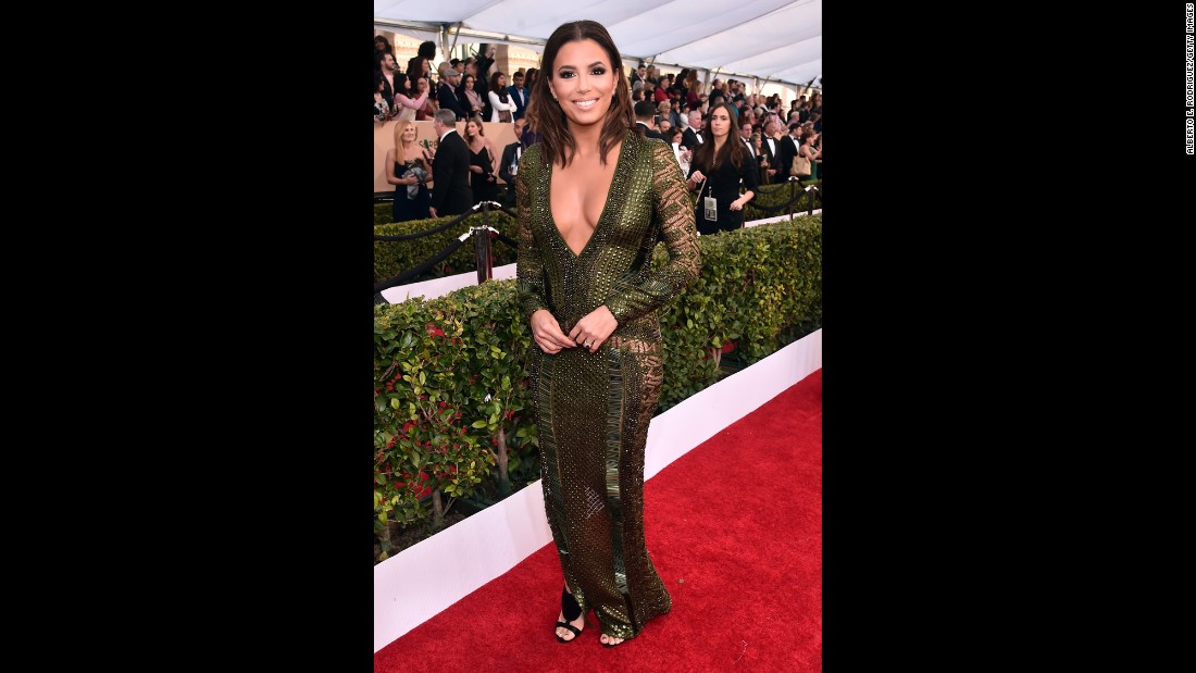 Eva Longoria arrives at the 22nd annual Screen Actors Guild Awards on Saturday, January 30.