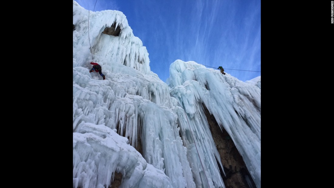 "IRAN: Students from the Meygoon Ice-Climbing School use ice axes to climb a frozen waterfall. Photo by CNN's Fred Pleitgen <a href=""http://instagram.com/fpleitgencnn"" target=""_blank"">@fpleitgencnn</a>."