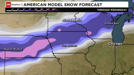 A look at snow accumulation through Wednesday,.