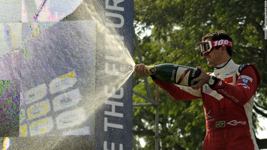"Defending world champion Nelson Piquet Jr finished third in Buenos Aires and enjoyed this champagne moment on the podium. ""It's one of my favorite races because Buenos Aires has so much vibrancy,"" adds CNN presenter Nicki Shields."