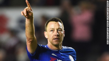 John Terry gestures to Chelsea fans after Sunday's win against Milton Keynes Dons.