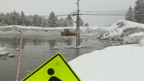 Ice dam flooding shuts down California community