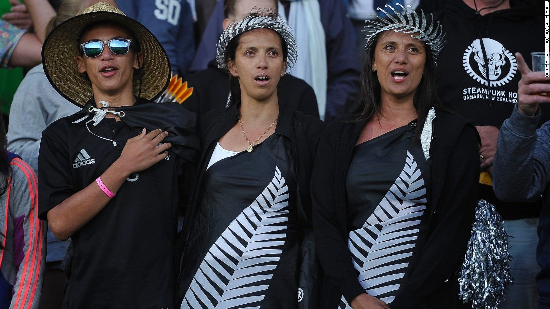 Kiwi fans sing their national anthem before kickoff. This was the last year on Wellington's contract as host city for a leg of the Sevens World Series. Officials are yet to decide which New Zealand venue will stage the event going forward.