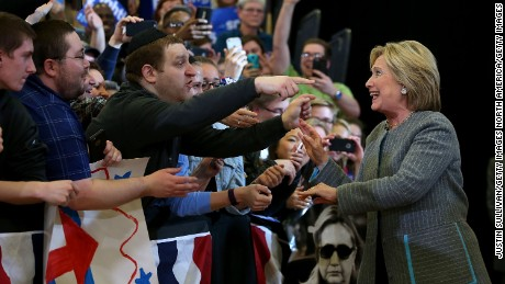 "DES MOINES, IA - JANUARY 31:  Democratic presidential candidate, former Secretary of State Hillary Clinton greets supporters during a ""get out to caucus"" event at Abraham Lincoln High School on January 31, 2016 in Des Moines, Iowa.  (Photo by Justin Sullivan/Getty Images)"