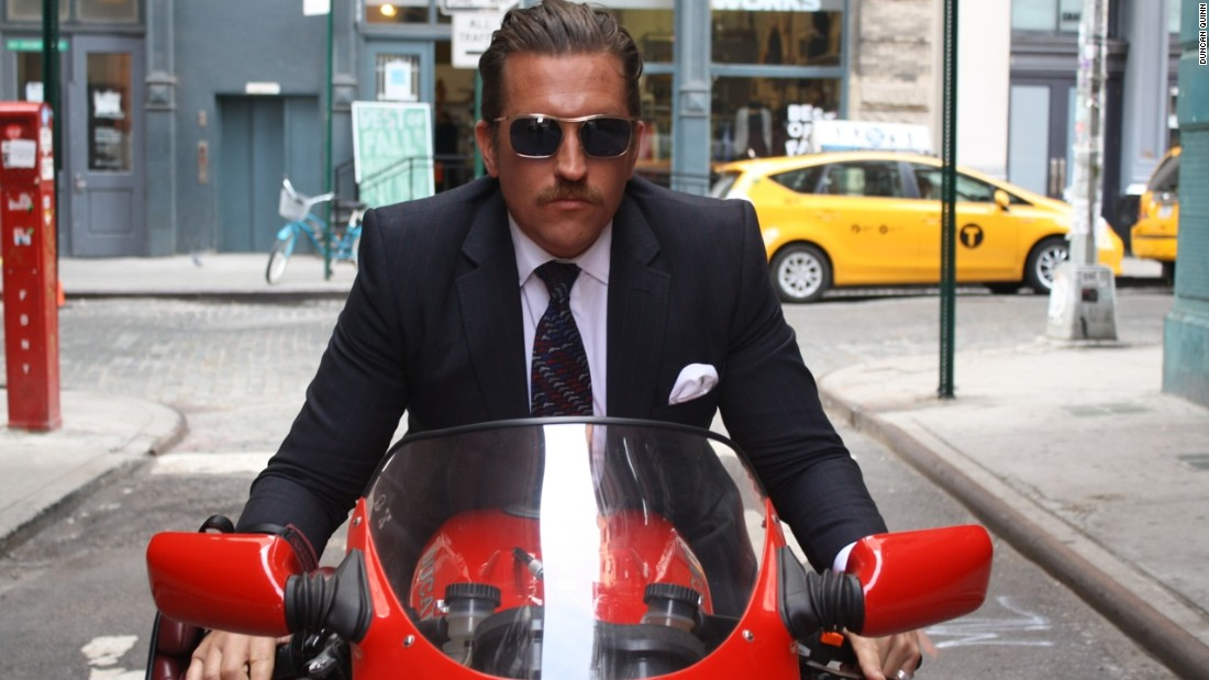 "New York-based menswear designer <a href=""http://duncanquinn.com/"" target=""_blank"">Duncan Quinn</a> has owned several vintage and modern motorbikes and is often photographed zipping around town in one of his bespoke suits. He's had some specially made from <a href=""http://www.dormeuil.com/en/"" target=""_blank"">Dormeuil's</a> new Exel woolen cloth, which has enough stretch be worn over lightweight protective gear."