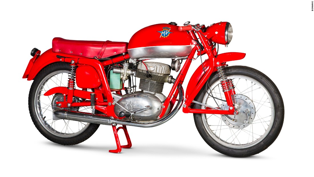 "Classic motorcycles are increasingly being sold alongside investment-grade cars at the auction houses' major automobile sales. This stunning 1954 MV Agusta ""Disco Volante"" -- named after its flying saucer-shaped fuel tank -- was auctioned by Bonhams in 2014 during <a href=""https://en.retromobile.com/"" target=""_blank"">Rétromobile classic car week</a>."