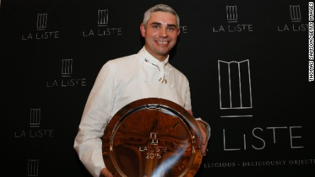 Benoit Violier, chef of the Restaurant de l'Hôtel de Ville, poses for a photo after been awarded First restaurant of La Liste Award in Paris on December 17, 2015. / AFP / THOMAS SAMSON        (Photo credit should read THOMAS SAMSON/AFP/Getty Images)