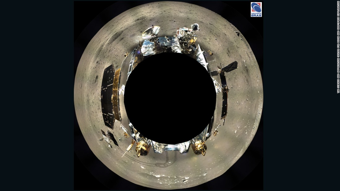 A 360° composite view of the Chang'e-3 lander and its surroundings.