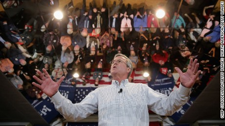 "MANCHESTER, NH - FEBRUARY 01:  Republican presidential candidate Jeb Bush holds a campaign town hall meeting at the Alpine Club February 1, 2016 in Manchester, New Hampshire. Getting ahead of the political spotlight by moving from the Midwest to the Northeast, Bush campaigned earlier in the day in Iowa, where voters will caucus Monday night, before landing in New Hampshire to focus on the ""First In The Nation"" primary.  (Photo by Chip Somodevilla/Getty Images)"