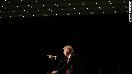 Republican presidential candidate Donald Trump speaks during a campaign event at the U.S. Cellular Convention Center on February 1, 2016, in Cedar Rapids, Iowa.