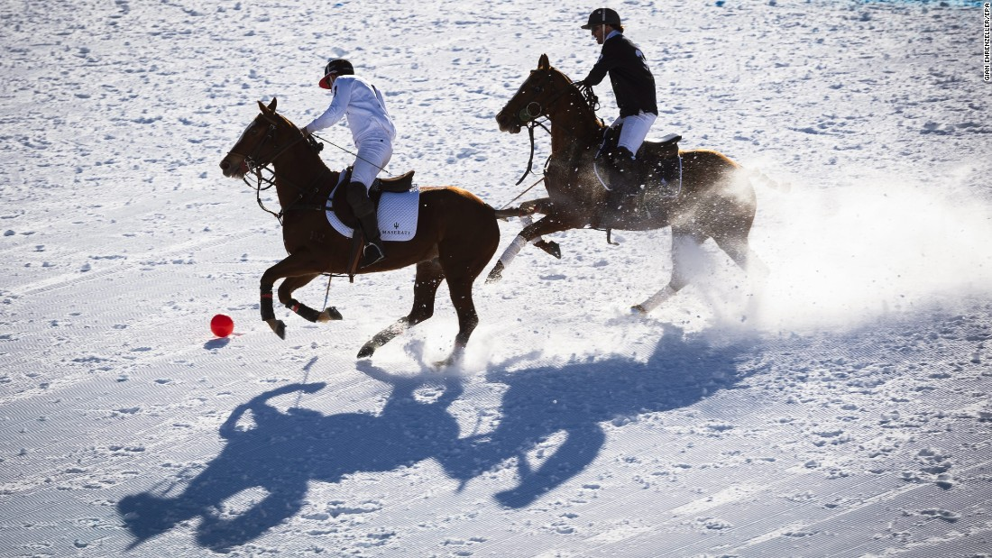 Rommy Gianni, left, and Mariano Gracida compete at the Snow Polo World Cup on Friday, January 29. Gianni and Team Maserati won the tournament, which took place in St. Moritz, Switzerland.
