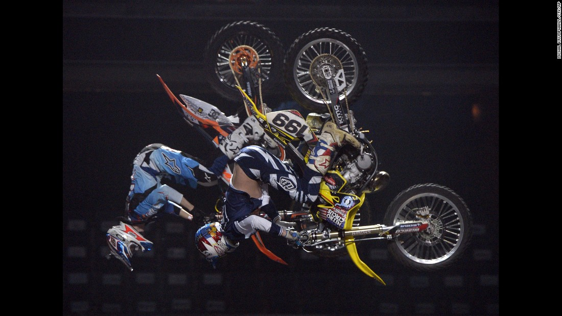 Petr Pilat, left, and Travis Pastrana practice Sunday, January 31, before the Nitro Circus Live event in Prague, Czech Republic.