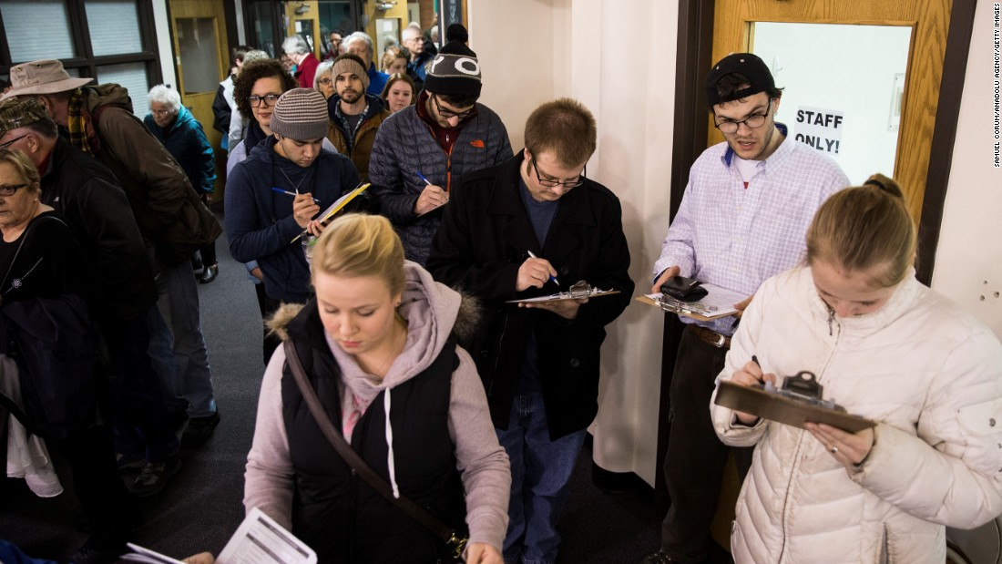 Iowans register to cast their ballot in Ames.