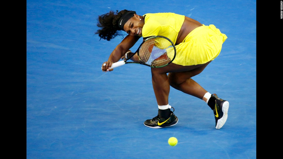 Serena Williams hits a forehand during the Australian Open final on Saturday, January 30. Williams lost to Angelique Kerber in three sets.