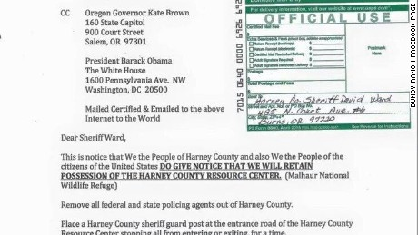 Certified letter sent to the Harney County Sheriff by Cliven Bundy
