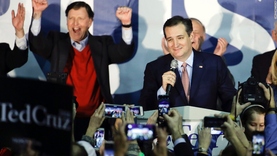 "U.S. Sen. Ted Cruz emerges victorious at a rally Monday, February 1, in Des Moines after taking first place in Iowa's Republican caucuses on Monday, February 1. With about 99% of precincts reporting, Cruz had 28% of the vote, compared with 24% for Donald Trump and 23% for U.S. Sen. Marco Rubio. ""Iowa has sent notice that the Republican nominee and the next president of the United States will not be chosen by the media, will not be chosen by the Washington establishment,"" Cruz said."
