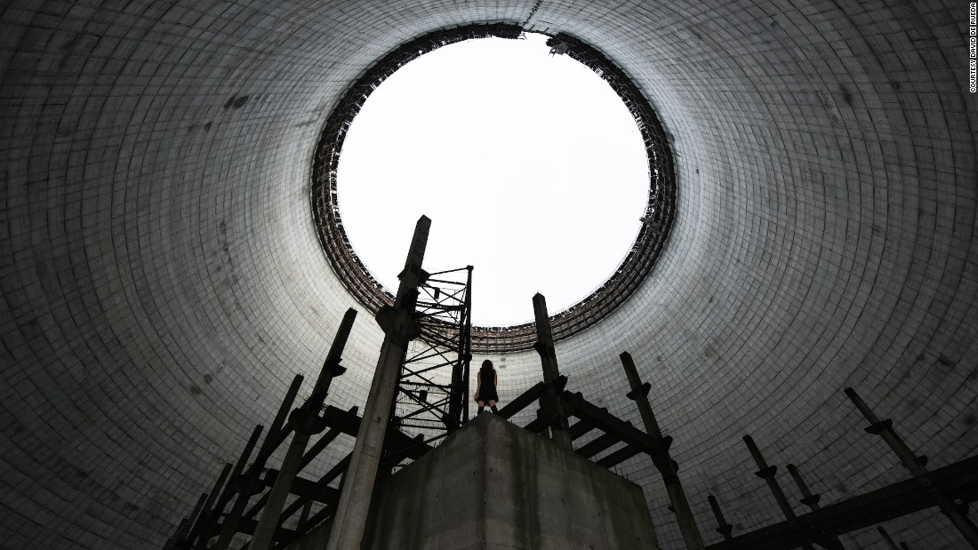 """This is inside the cooling tower of a nuclear power plant in Chernobyl that was never completed,"" explained De Rueda."