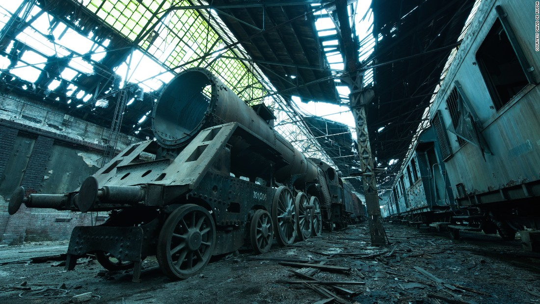 """In Budapest, I explored this derelict train graveyard,"" said De Rueda.""Located in the middle of an active train depot, I felt like a child escaping reality to walk for a few hours in an imagined world of steel monsters."""