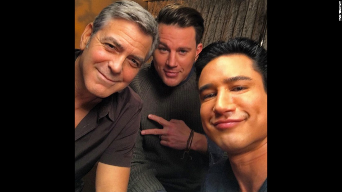 "Television host Mario Lopez, right, takes a selfie with actors George Clooney, left, and Channing Tatum on Monday, February 1. ""Squad,"" <a href=""https://www.instagram.com/p/BBQcJQ4SMK2/"" target=""_blank"">he said on Instagram.</a>"
