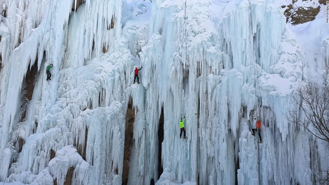 Ice climbing is a fairly new sport in Iran but it's increasingly popular. On an average day, between 60 and 70 people come to the ice-climbing school in Meygoon.