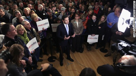 Republican presidential candidate Sen. Marco Rubio (R-FL) is interviewed on live television before holding a campaign rally in the Exeter Town Hall February 2, 2016 in Exeter, New Hampshire.