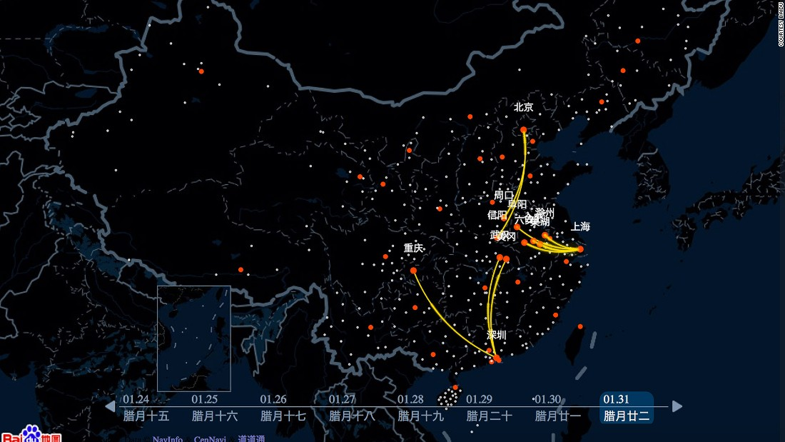 China's biggest search engine, Baidu has released an interactive, real time Qianxi (or Migration) Map that tracks movements around the country during the Spring Festival travel rush. The most popular routes on February 3 appear as yellow lines.