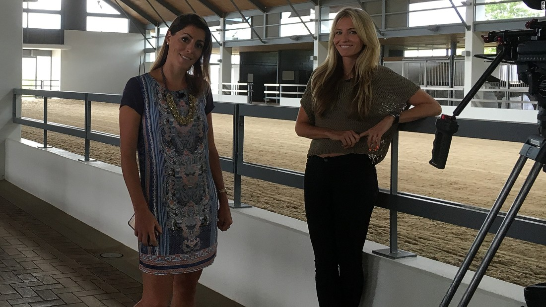 Aly also traveled to Cavalli Stud Farm to interview managing director, Lauren Smith -- pictured here on the right during a break in filming.