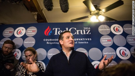 Republican presidential hopeful Sen. Ted Cruz (R-TX) speaks at a press conference before holding a campaign event at The Village Trestle restaurant on February 3, 2016 in Goffstown, New Hampshire.