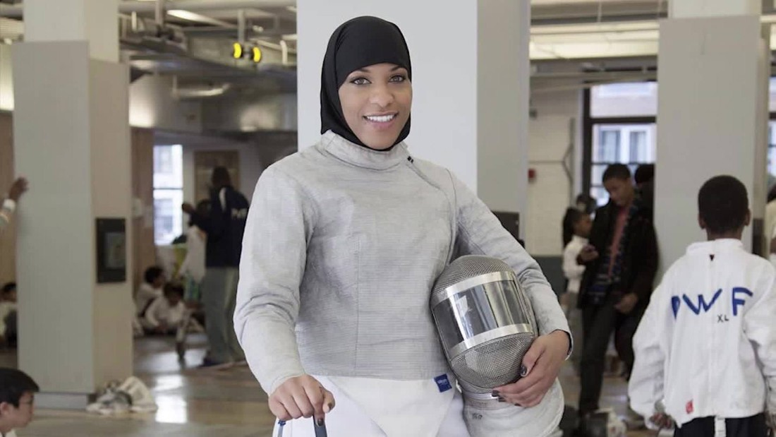 Ibtihaj Muhammad became the first Muslim woman to represent the U.S. in international competition in her sport, fencing, winning team gold at the 2014 World Championships. The 30-year-old competes wearing a hijab.