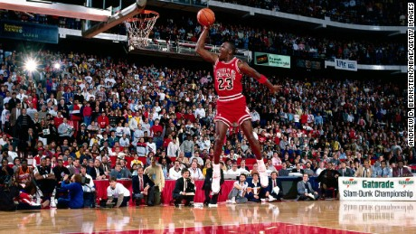 Michael Jordan #23 of the Chicago Bulls goes for a dunk during the 1988 NBA All Star Slam Dunk Competition on February 6, 1988 at Chicago Stadium in Chicago, Illinois.