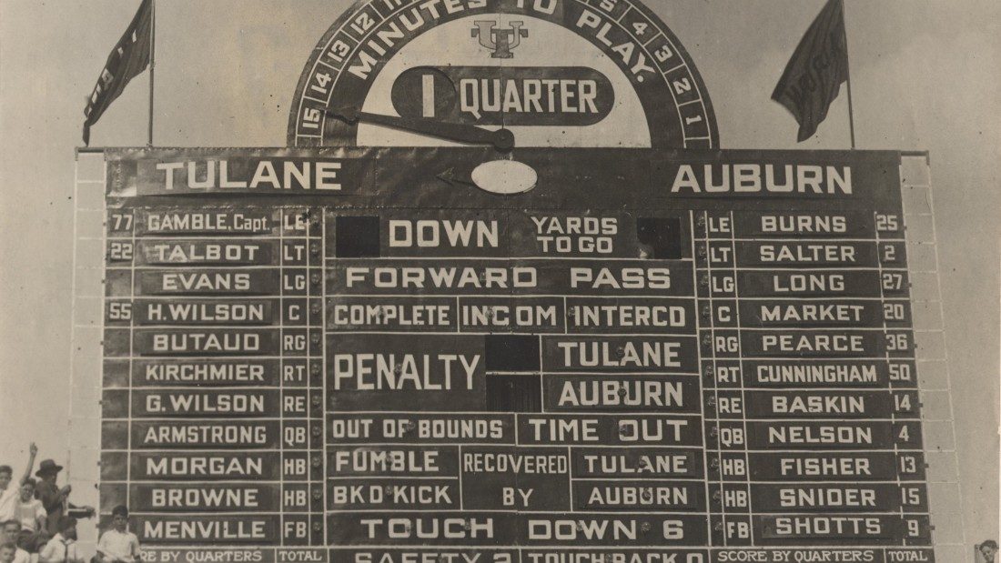 Tulane Stadium's scoreboard -- famous for its confusing layout -- was a signature feature of the old facility. It was salvaged by a Tulane employee before the stadium's demolition in 1979.