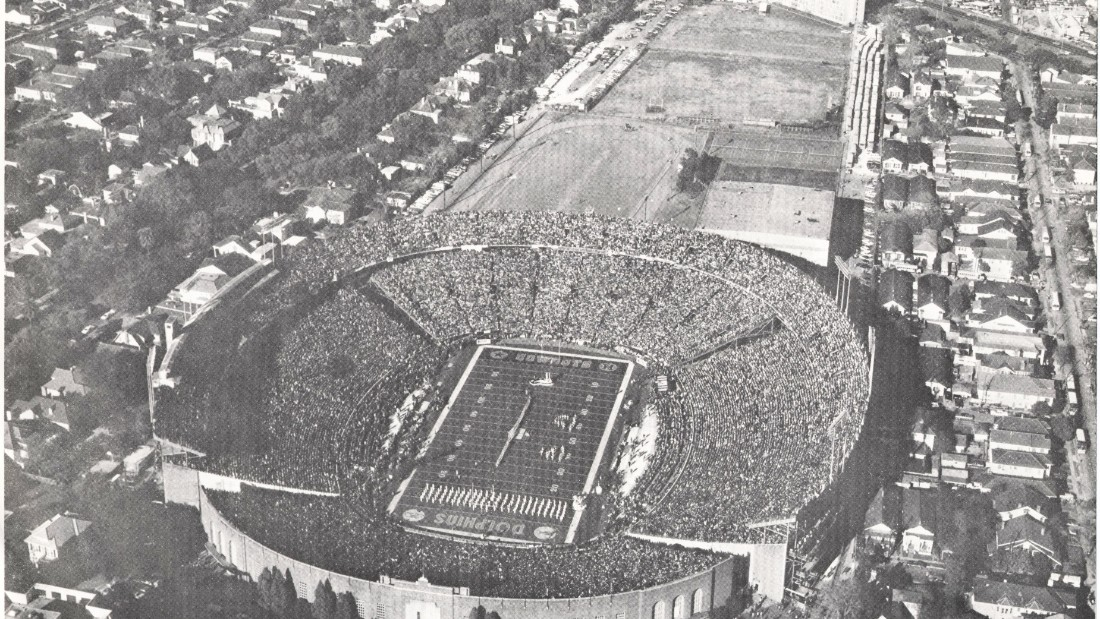 "On Jan 16, 1972, Tulane Stadium hosted Super Bowl VI, in which the Dallas Cowboys defeated the Miami Dolphins 24-3. A crowd of 81,023 packed the stadium, the second of three Super Bowls on the campus of Tulane University in New Orleans. Dr. Ken Adatto, who grew up within walking distance of the venue, recalls it  as ""a unique place to visit."""