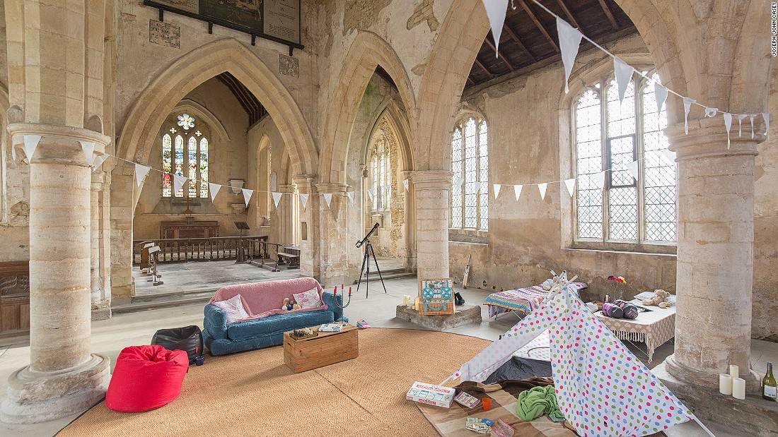 "Churches Conservation Trust, a London-based charity, allows people to ""camp"" inside at-risk parish churches for a fee. For the upcoming ""champing"" season it will open 10 churches, including All Saints in West Stourmouth."