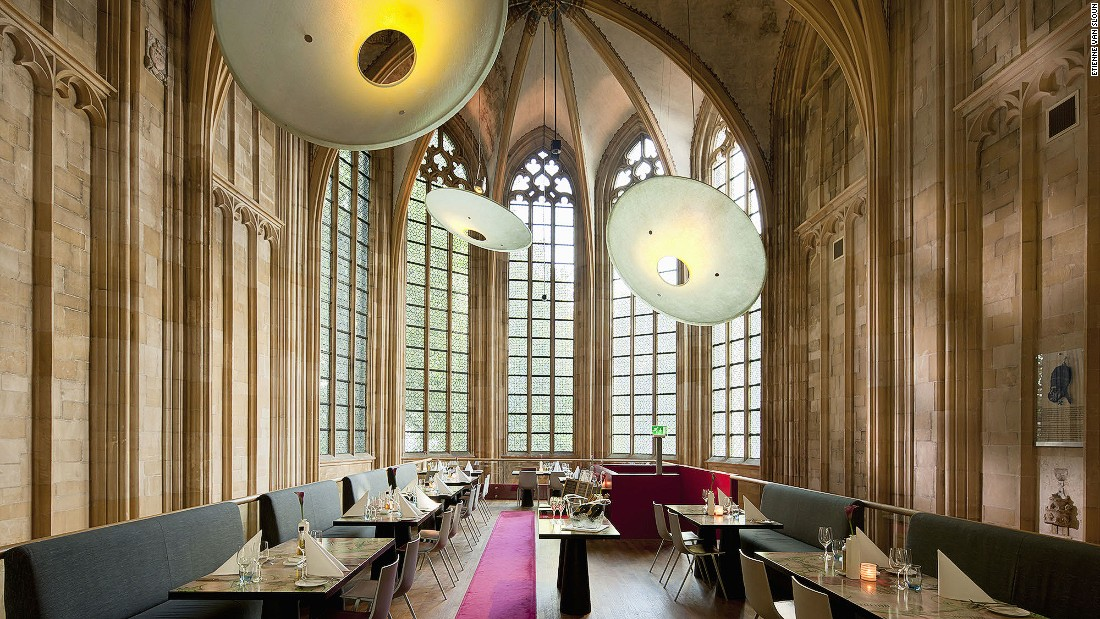The reception area, library, restaurant and wine bar are all set inside a Gothic church.