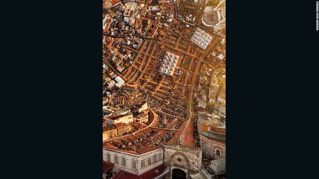 Istanbul's Grand Bazaar appears to be inching up the walls in this surreal photograph.