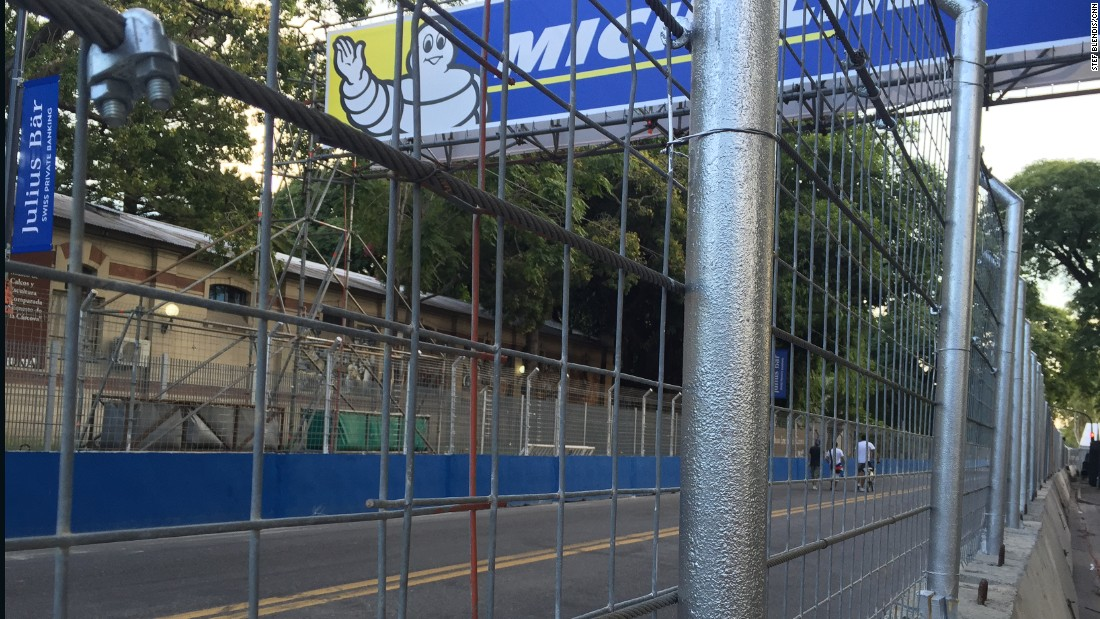 Nearly all Formula E races take place in major city centers including London, Moscow and this year Paris for the first time. The 2.407-kilometer track in Buenos Aires is encased in protective fencing -- a huge undertaking for the city and race organizers.