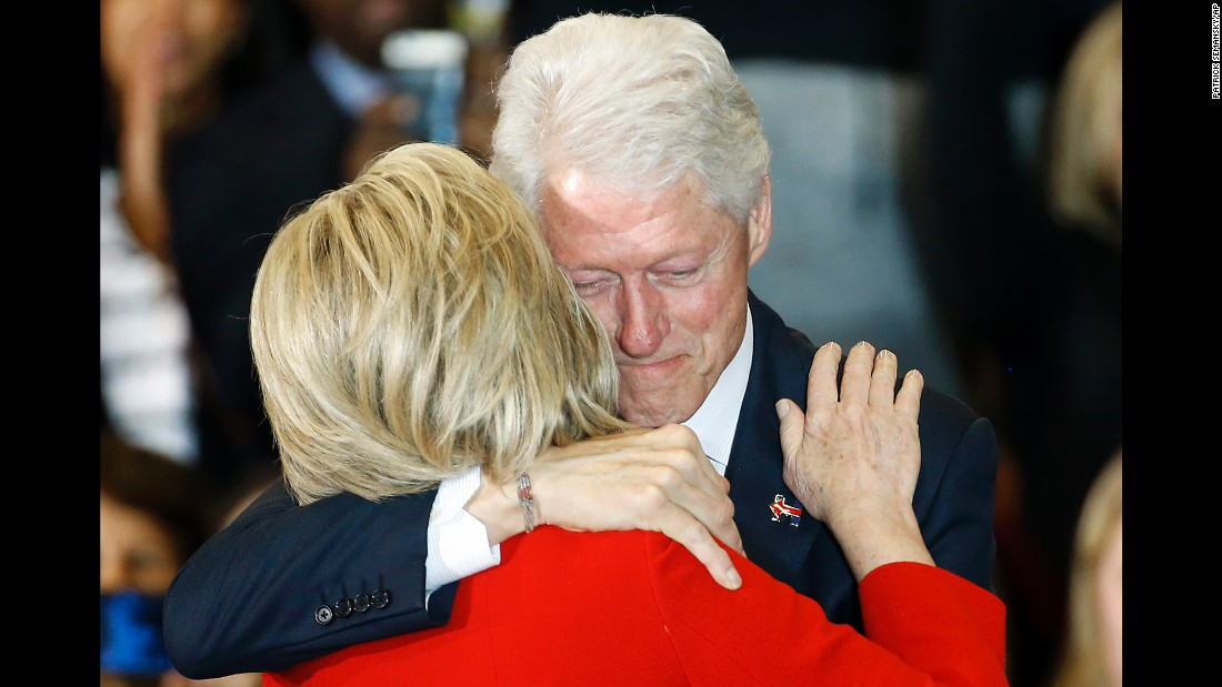 "Democratic presidential candidate Hillary Clinton hugs her husband, former U.S. President Bill Clinton, during a caucus night party in Des Moines, Iowa, on Monday, February 1. <a href=""http://www.cnn.com/2016/02/02/politics/hillary-clinton-coin-flip-iowa-bernie-sanders/"" target=""_blank"">Clinton edged U.S. Sen. Bernie Sanders</a> by less than half a percentage point: 49.9% to 49.6%."
