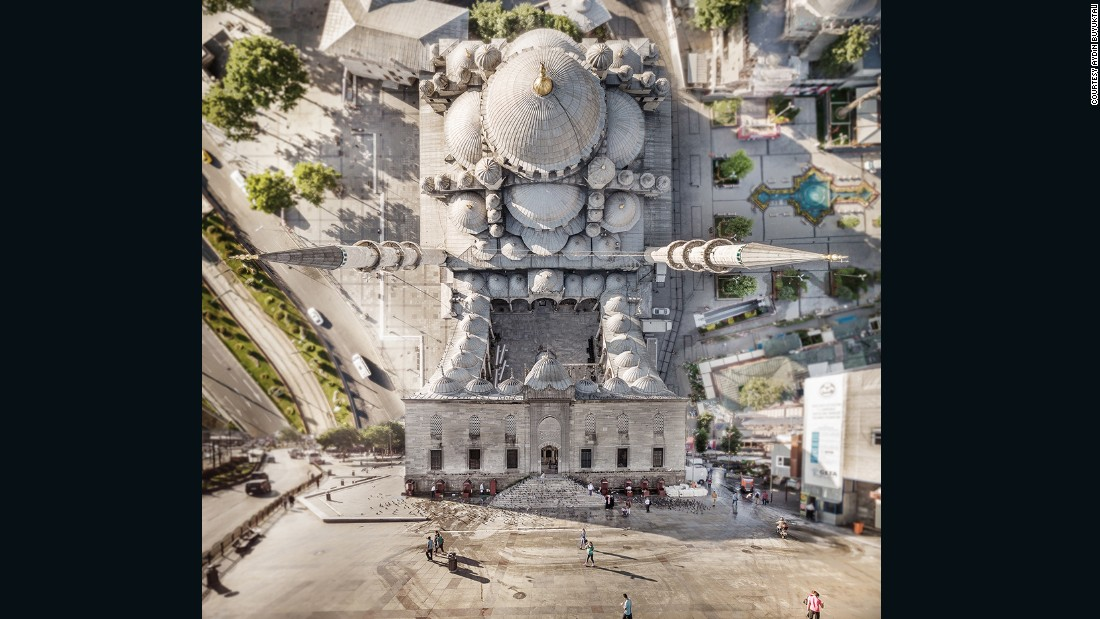 The Turkish artist used a drone to take photos of the city, then morphed them into a mind-bending collage using Photoshop.