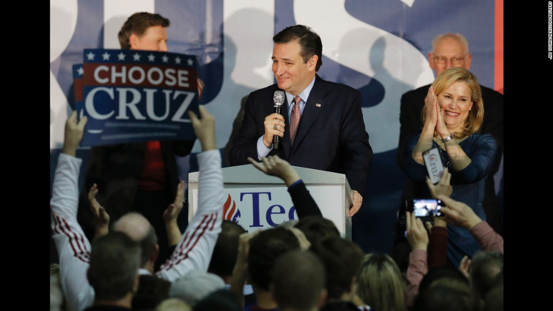 "U.S. Sen. Ted Cruz, a Republican presidential candidate, speaks to his supporters in Des Moines, Iowa, after he won <a href=""http://www.cnn.com/2016/02/01/politics/gallery/iowa-caucuses/index.html"" target=""_blank"">the Iowa caucuses</a> on Monday, February 1. Cruz received 28% of the vote, compared with 24% for Donald Trump and 23% for Marco Rubio."