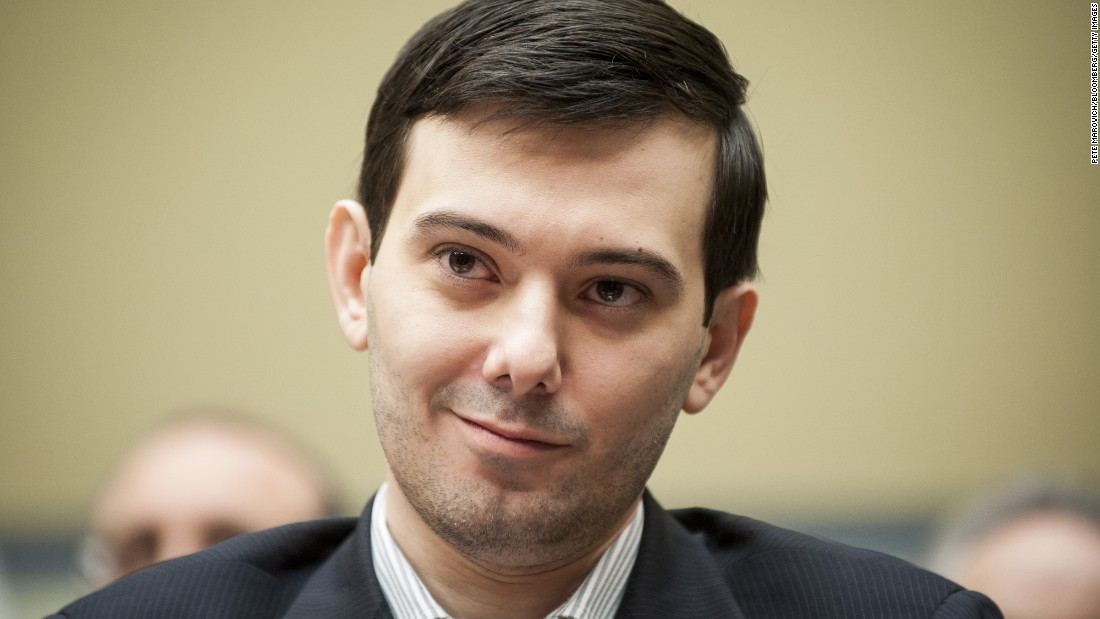 "Martin Shkreli, former CEO of Turing Pharmaceuticals, smiles Thursday, February 4, during a congressional hearing on prescription drug prices. Shkreli <a href=""http://money.cnn.com/2015/09/22/investing/aids-drug-martin-shkreli-750-cancer-drug/index.html?iid=EL"" target=""_blank"">had been called the ""most-hated man in America""</a> for jacking up the prices of a drug used to treat AIDS patients. He <a href=""http://money.cnn.com/2016/02/04/news/companies/martin-shkreli-hearing/index.html"" target=""_blank"">refused to give testimony</a> to the House committee on Thursday, choosing to invoke his Fifth Amendment rights."