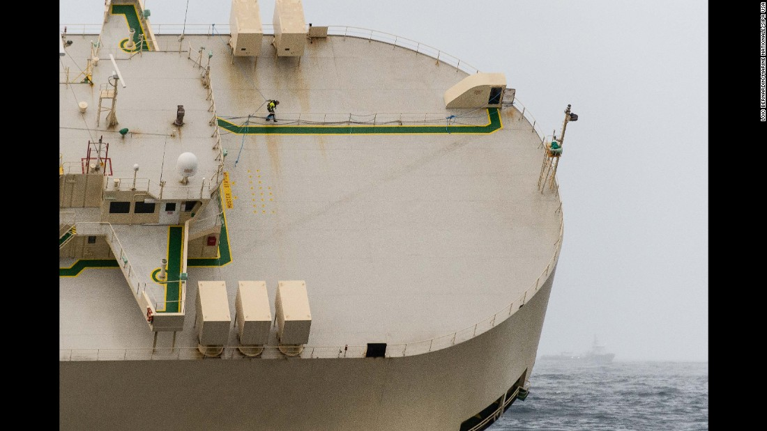 "The Modern Express, a badly listing cargo ship, <a href=""http://www.cnn.com/2016/02/01/europe/stricken-cargo-ship-listing-french-coast/"" target=""_blank"">was towed away from the coast of France </a>to keep it from running aground on Monday, February 1. The ship began listing last week and could not be righted because of gusty winds and 20-foot waves, Vice-Admiral Emmanuel de Oliveira told reporters. Its crew was airlifted to safety."