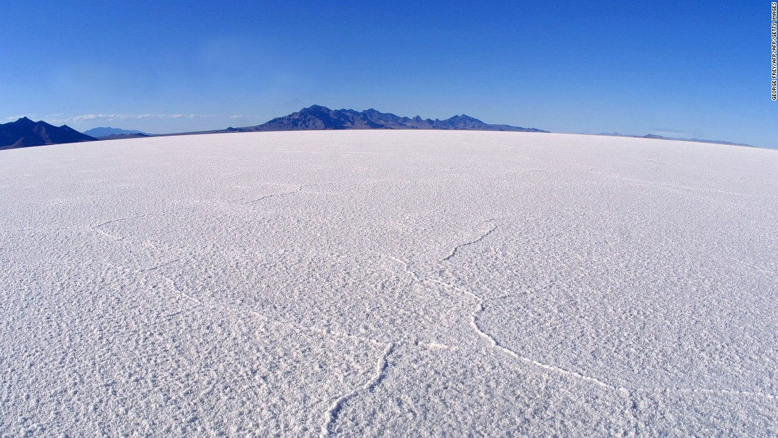 """You have no real distance reference,"" says Biscaye of the challenge the salt flats offer. ""Just the markers on the side of the road indicating how many miles have past, and a mountain at the end."""