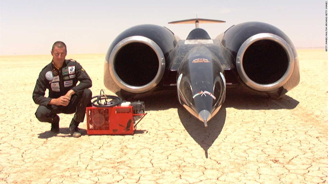 As Venturi seeks to break the electric land speed record, the VBB-3 is nowhere near the overall record, set by the rocket-powered Thrust SSC -- driven by Andy Green in 1997 -- which reached a speed of 763.035 mph (1,227.985 kph).