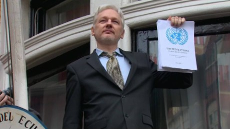 Julian Assange in February touts a U.N. panel ruling from a balcony at Ecuador's Embassy in London.