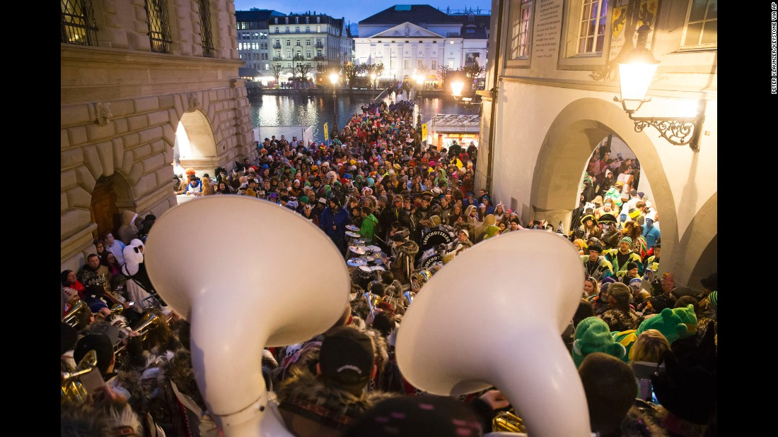 A band performs during a Carnival procession near the Reuss River in Lucerne, Switzerland, on February 4.